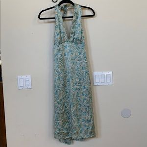 3x$30 Kenzie blue halter cream 100% silk dress
